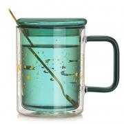 轻奢星空杯双层隔热玻璃水杯带盖勺 员工生日礼品推荐