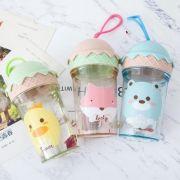 卡通冰淇淋造型带提手透明水杯250ml 夏天送什么小礼品